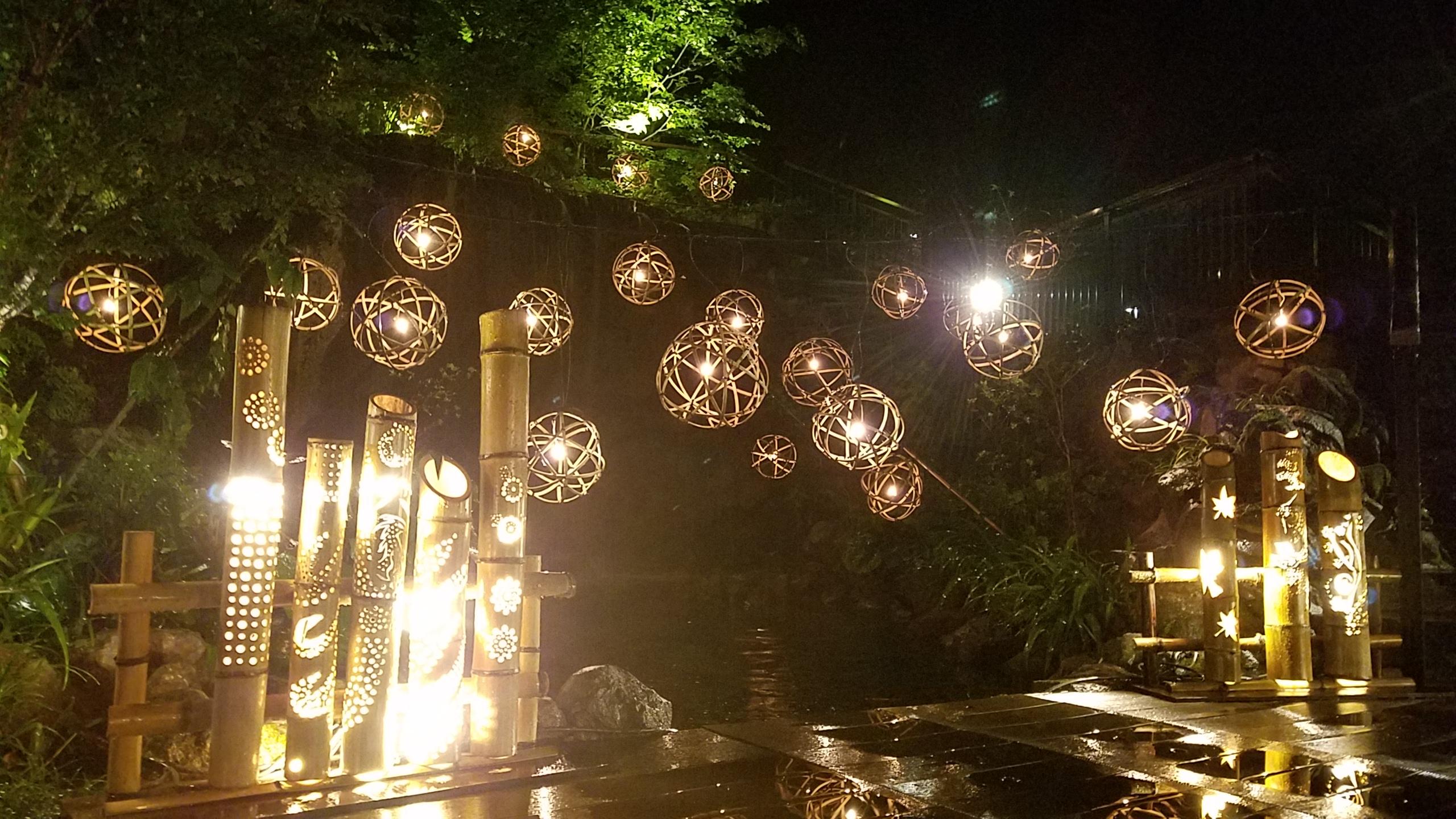 【自然と和のおもてなし】2019天悠の夏竹灯籠の灯りで夕涼み
