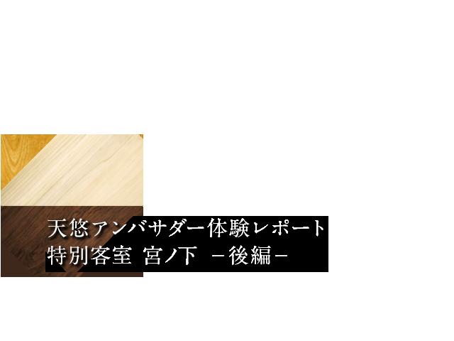 天悠アンバサダー体験レポート 特別客室 宮ノ下 −後編−